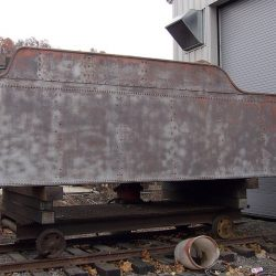 November 2013: The tender tank has been sandblasted and remains off its frame.