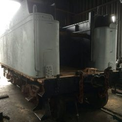 June 2014: New tank bottom, frame rebuild, new deck, sandblasted, primed, interior coated and leak tested.  Photograph by Jason Lamb