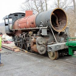 March 25, 2015:  With the bulk of the heavy repairs completed at the Western Maryland Scenic Railroad's shop in Ridgeley, WV, engine 11 was moved by truck to the Everett Railroad's shop at Claysburg, PA, for installation of boiler tubes and appliances.  Photograph by Dave Seidel.