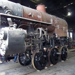 March 2015:  Engine no. 11 is lowered back onto its wheels.