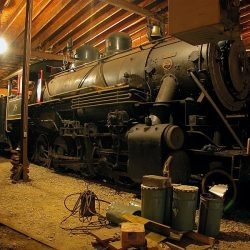 September 23, 2006: On the date of the last excursions to operate on the K&K, #38 sits inside of the Marienville enginehouse.  Keith Burkey, Photograph