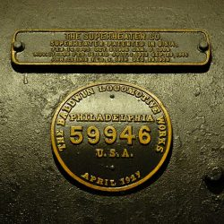September 23, 2006: A closeup of 38's Baldwin builder's plate and the superheater patent.  Keith Burkey, Photograph