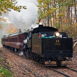 Number 11 returns a group of happy passengers to Hollidaysburg in the fall of 2015.