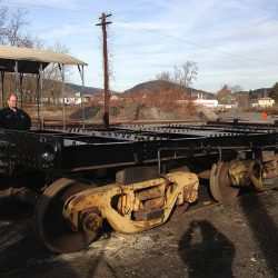 December 2012: Resting on shop trucks, the rebuilt frame of #11's tender rests outside the Western Maryland Scenic Railroad shops in Ridgeley, WV.  The tender trucks are undergoing rebuild as well.